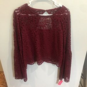 Burgundy lace bell sleeve blouse